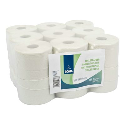 776973: Traditioneel toiletpapier - recycled tissue - 2-laags - 740 vel - gewafeld - WIT - 18 rollen